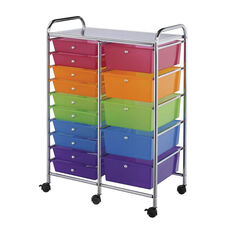 15 Drawer Chrome Frame Storage Cart - Multicolor