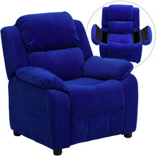 Deluxe Padded Contemporary Blue Microfiber Kids Recliner with Storage Arms
