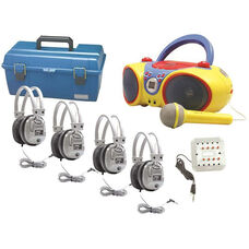 Gray and Blue and Yellow Kid-Friendly Deluxe Headphone Listening Center with Brightly Colored CD and Karaoke Boombox and Microphone - Set of 4 Headphones