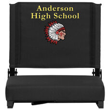 Embroidered Grandstand Comfort Seats by Flash with Ultra-Padded Seat in Black