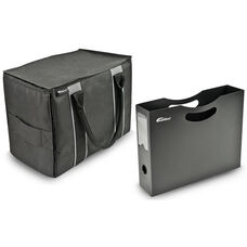 Self Standing Mini File Tote with Adjustable Dividers and One Hanging File Holder - Black and Gray