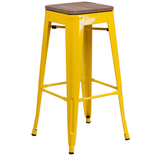 """Our 30"""" High Backless Yellow Metal Barstool with Square Wood Seat is on sale now."""