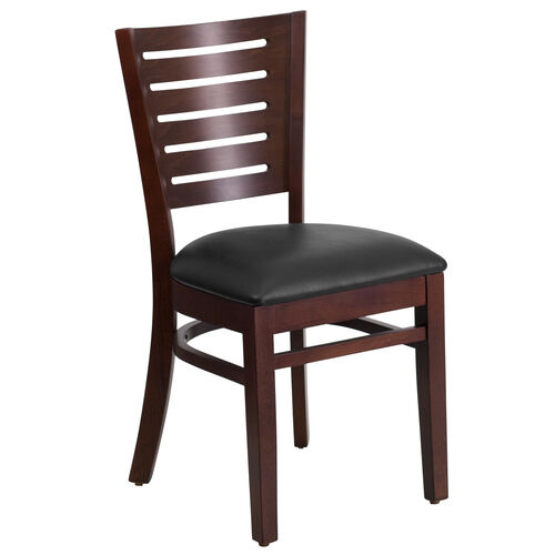 Our Walnut Finished Slat Back Wooden Restaurant Chair with Black Vinyl Seat is on sale now.