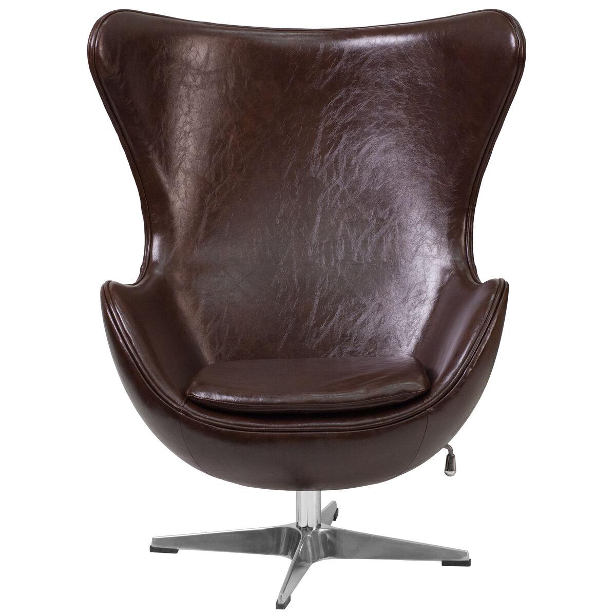 Superb Brown Leather Egg Chair With Tilt Lock Mechanism Ibusinesslaw Wood Chair Design Ideas Ibusinesslaworg