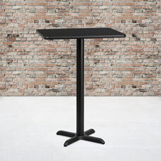 24'' x 30'' Rectangular Black Laminate Table Top with 22'' x 22'' Bar Height Base
