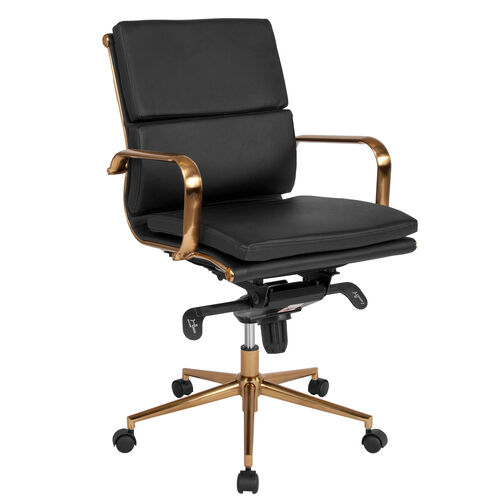 Our Mid-Back Black LeatherSoft Executive Swivel Office Chair with Gold Frame, Synchro-Tilt Mechanism and Arms is on sale now.