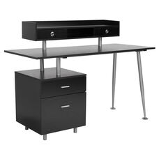 Piedmont Home and Office Desk with 2 Drawers and Top Storage Shelf in Dark Ash Finish
