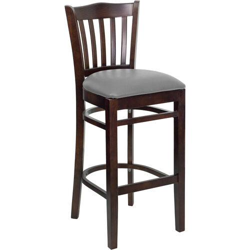 Our Walnut Finished Vertical Slat Back Wooden Restaurant Barstool with Custom Upholstered Seat is on sale now.