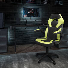 BlackArc Black Gaming Desk and Green/Black Racing Chair Set with Cup Holder, Headphone Hook, and Monitor/Smartphone Stand