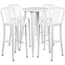 """Commercial Grade 24"""" Round White Metal Indoor-Outdoor Bar Table Set with 4 Vertical Slat Back Stools"""