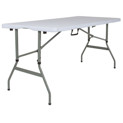 Our 5-Foot Height Adjustable Bi-Fold Granite White Plastic Banquet and Event Folding Table with Carrying Handle is on sale now.