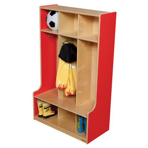 Our Strawberry Red 3-Section Seat Lockers with Two Coat Hooks in Each Section - Assembled - 30