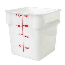 8 Quart Plastic Square Food Storage Container in White
