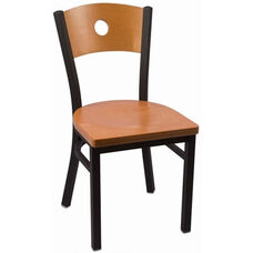 Circle Series Wood Back Armless Chair with Steel Frame and Wood Seat - Natural