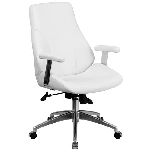 Our Mid-Back White LeatherSoft Smooth Upholstered Executive Swivel Office Chair with Arms is on sale now.