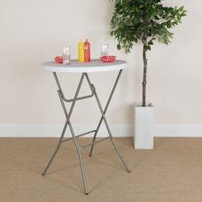 2.63-Foot Round Granite White Plastic Bar Height Folding Table