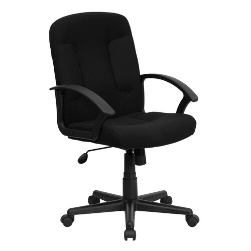 Our Mid-Back Black Fabric Executive Swivel Office Chair with Nylon Arms is on sale now.