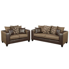 Riverstone Object Espresso Chenille Living Room Set