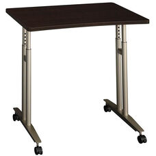 Series C Adjustable Height Mobile Table with Locking Casters - Mocha Cherry