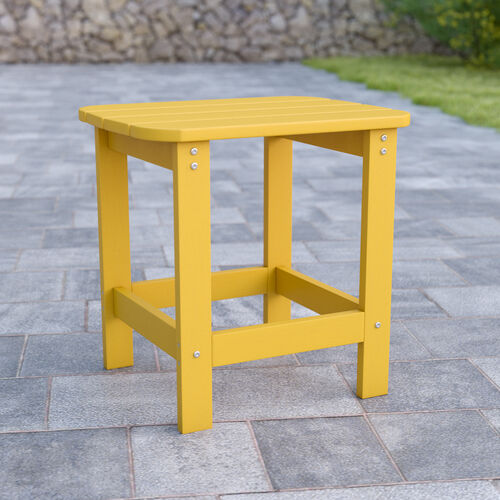 Charlestown All-Weather Poly Resin Wood Adirondack Side Table in Yellow
