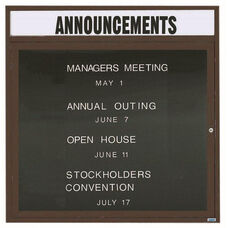 1 Door Outdoor Illuminated Enclosed Directory Board with Header and Bronze Anodized Aluminum Frame - 36