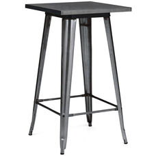 Dreux Dark Gunmetal Steel Frame Square Top Bar Table - 42