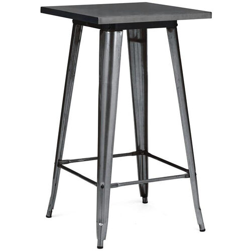 Our Dreux Dark Gunmetal Steel Frame Square Top Bar Table - 42