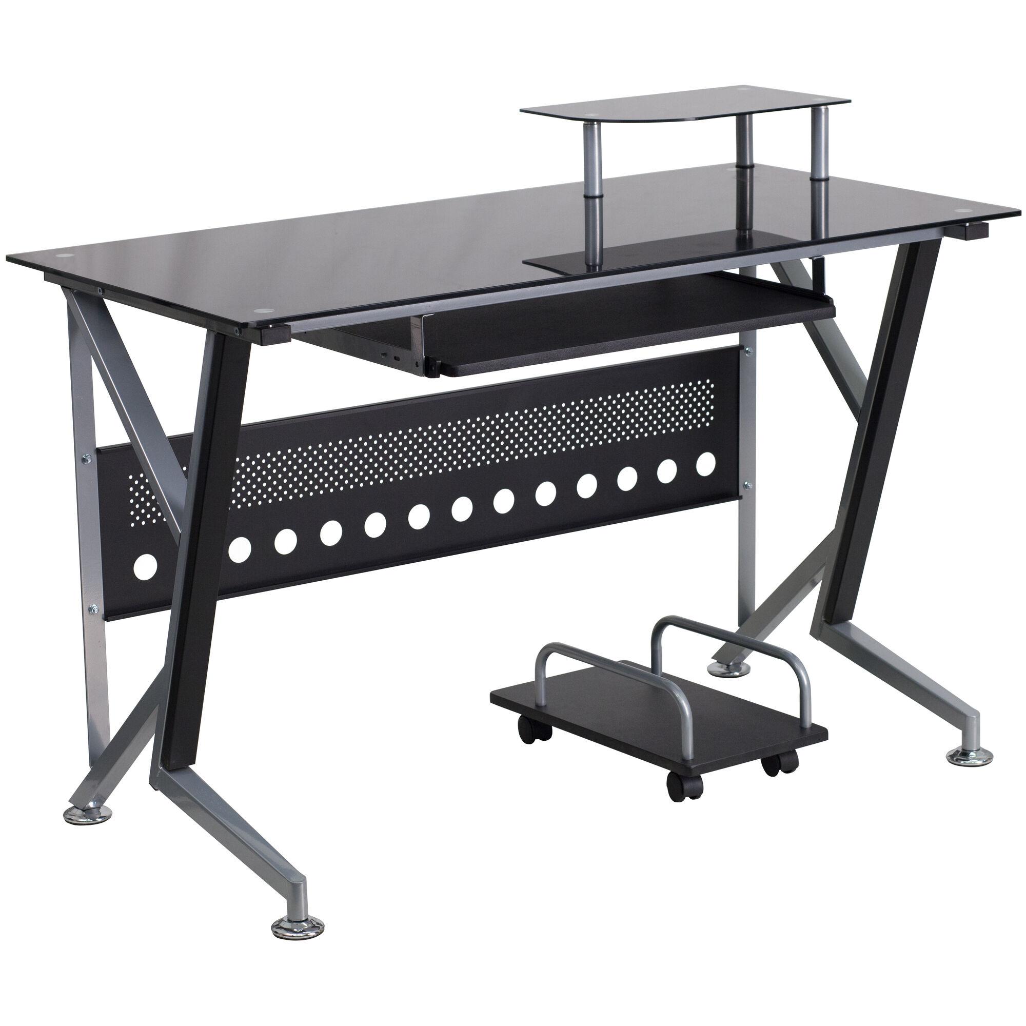 Black Glass Top Desk Nan Wk 059 Gg Bizchair Com