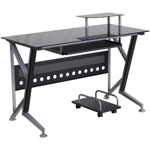 Our Black Glass Computer Desk with Pull-Out Keyboard Tray and CPU Cart is on sale now.