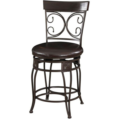 Our Big And Tall Back To Back Scroll Metal Counter Stool Dark Bronze