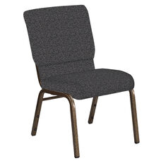 18.5''W Church Chair in Ribbons Gray Fabric - Gold Vein Frame