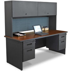 Pronto® Solid Steel Double Pedestal Desk with Flipper Doors - Dark Neutral Frame with Mahogany Top with Slate Fabric