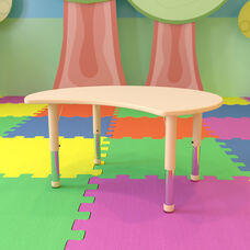 """25.125""""W x 35.5""""L Crescent Natural Plastic Height Adjustable Activity Table"""
