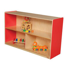 Strawberry Red Versatile Single Plywood UV Finished Storage Unit with Rolling Casters - Assembled - 48