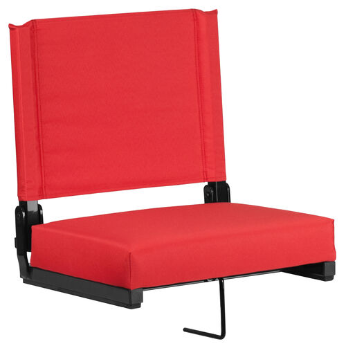 Our Grandstand Comfort Seats by Flash with Ultra-Padded Seat in Red is on sale now.