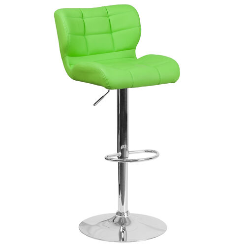 Our Contemporary Tufted Green Vinyl Adjustable Height Barstool with Chrome Base is on sale now.