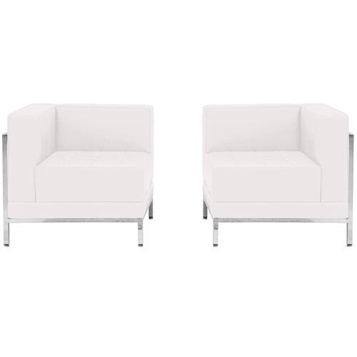 HERCULES Imagination Series Melrose White LeatherSoft 2 Piece Corner Chair Set
