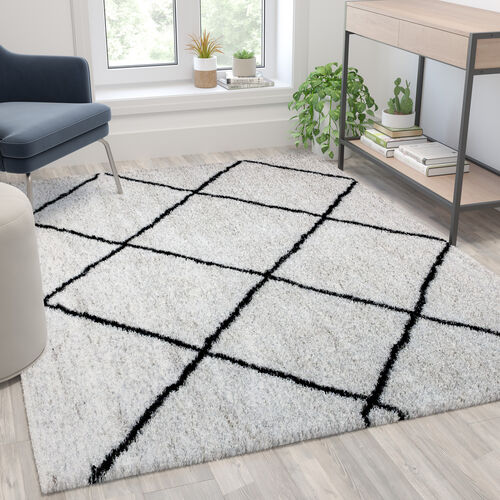 Shag Style Diamond Trellis Area Rug - 5