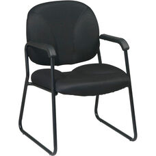 Work Smart Visitors Chair with Black Finish Sled Base and Armrests
