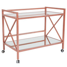 Glenwood Park Glass Kitchen Serving and Bar Cart with Rose Gold Frame