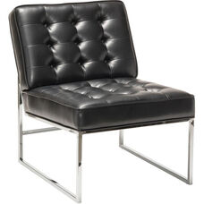 Work Smart Anthony Faux Leather Chair with Chrome Base - Black