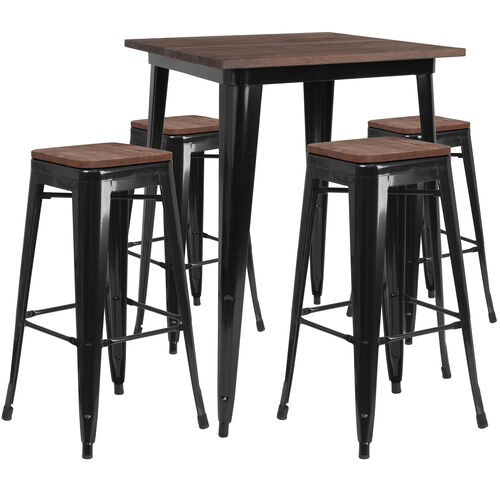 "Our 31.5"" Square Metal Bar Table Set with Wood Top and 4 Backless Stools is on sale now."