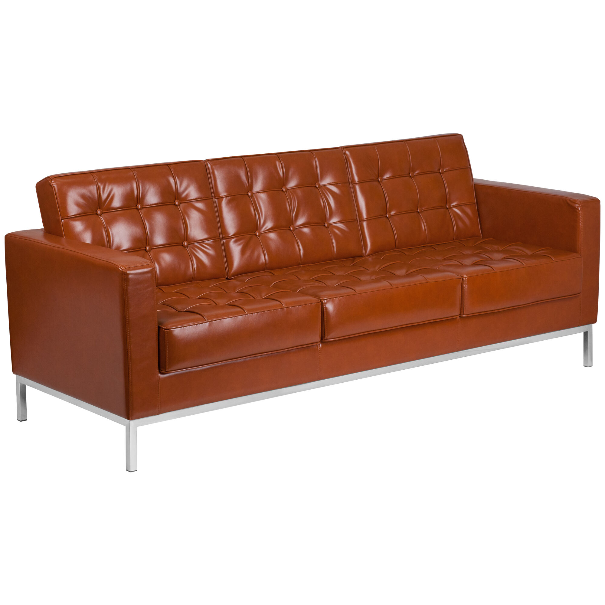 Hercules Lacey Series Contemporary Cognac Leather Sofa With Stainless Steel Frame