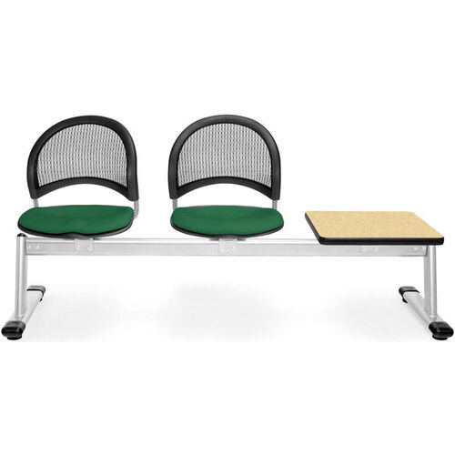 Our Moon 3-Beam Seating with 2 Forest Green Fabric Seats and 1 Table - Oak Finish is on sale now.