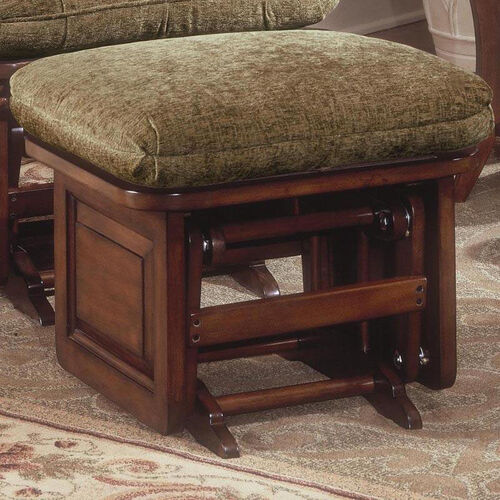 Maple Wood Ottoman with Raised Side Panel - Cherry Finish
