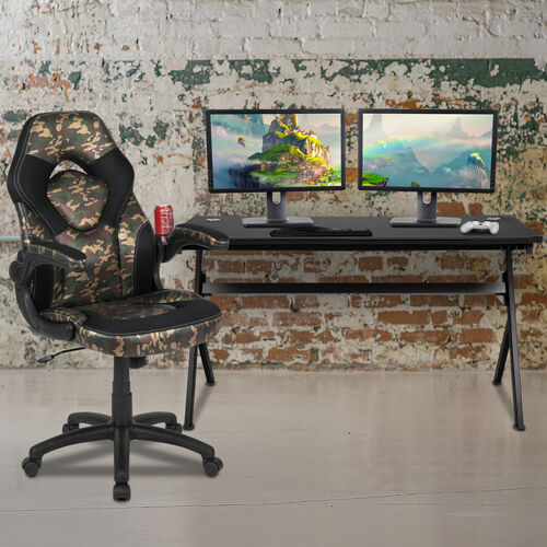 Our BlackArc Black Gaming Desk and Camouflage/Black Racing Chair Set with Cup Holder, Headphone Hook and Removable Mouse Pad Top - 2 Wire Management Holes is on sale now.