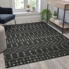 Geometric Bohemian Low Pile Rug - 5' x 7' - Dark Gray/Ivory Polyester