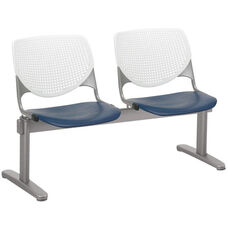 2300 KOOL Series Beam Seating with 2 Poly White Perforated Back and Navy Seats