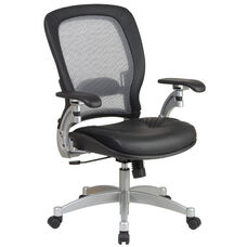 Space Professional Light Air Grid Back Office Chair with 2-to-1 Synchro Tilt, Leather Seat, and Platinum Finish Accents - Black