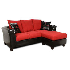 Peyton Transitional Style Faux Leather and Fabric Two Tone Chaise Sofa - Denver Black and Victory Cardinal